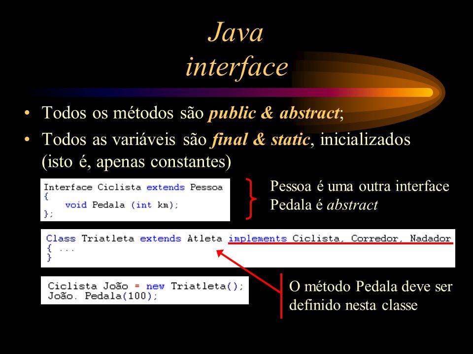 Java interface Todos os métodos são public & abstract;