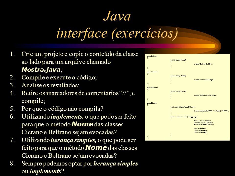 Java interface (exercícios)