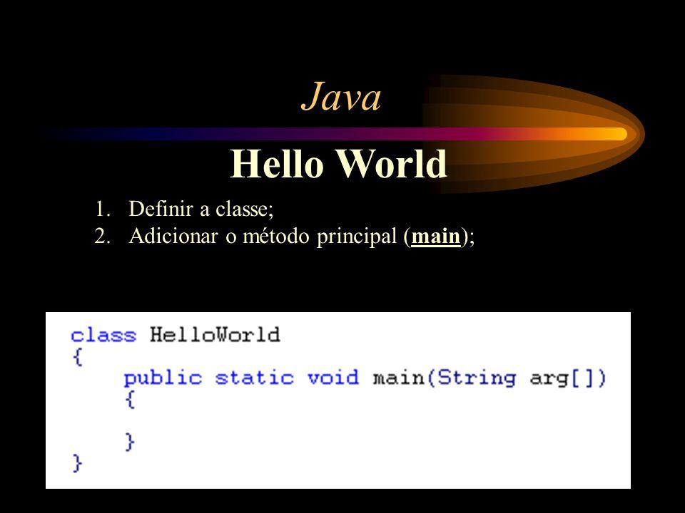 Java Hello World Definir a classe;