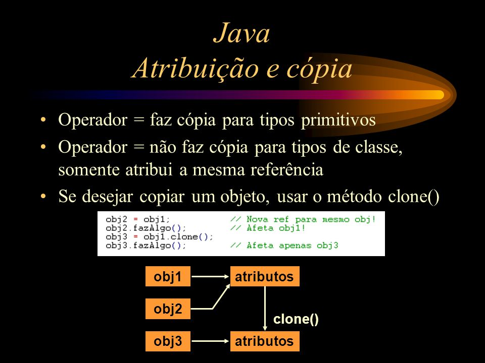 Java Atribuição e cópia