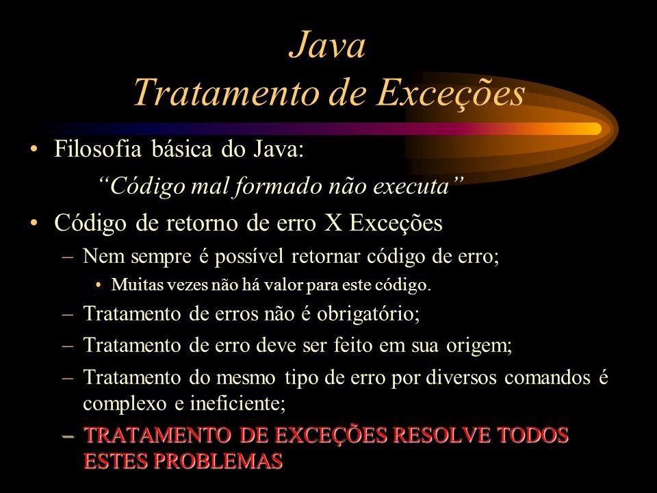 Java Tratamento de Exceções