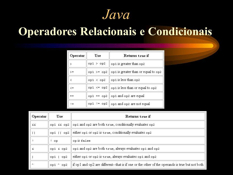 Operadores Relacionais e Condicionais