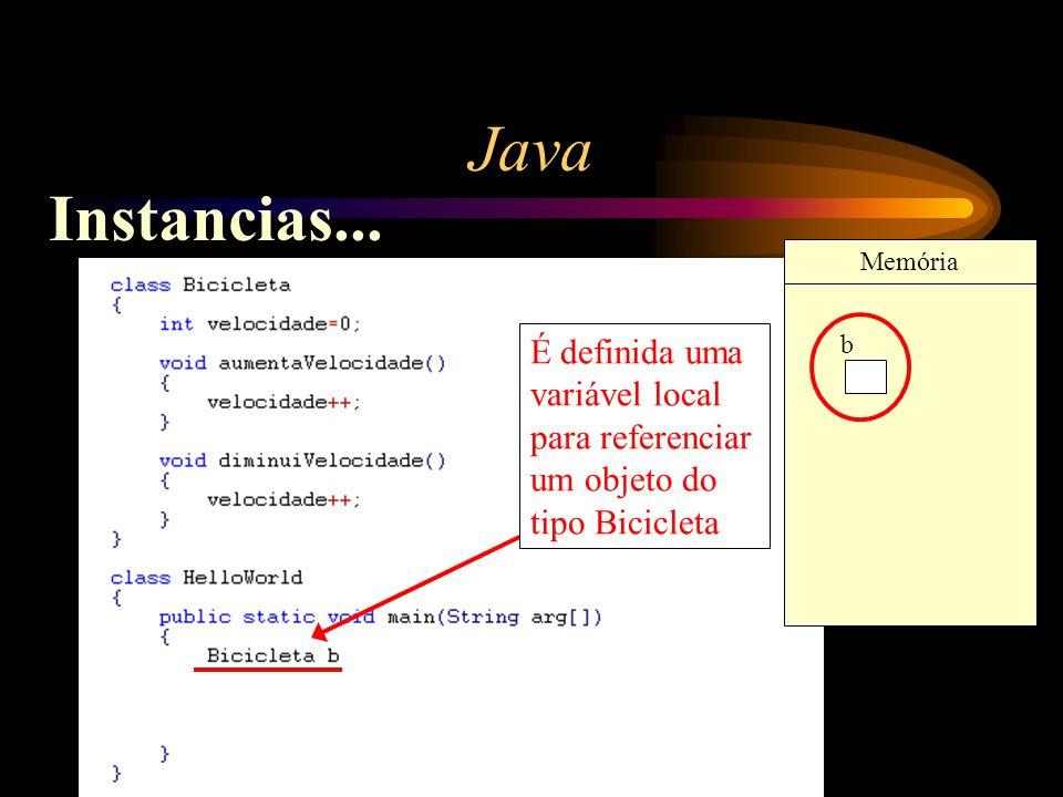 Java Instancias... Memória. É definida uma variável local para referenciar um objeto do tipo Bicicleta.