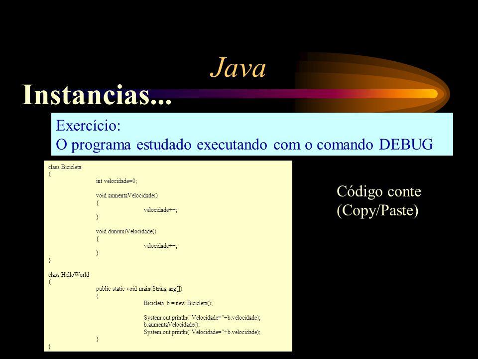 Java Instancias... Exercício: