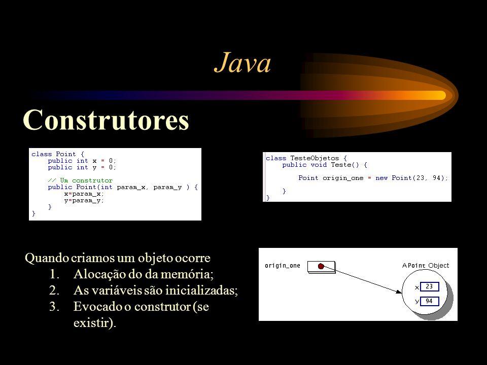 Java Construtores Quando criamos um objeto ocorre