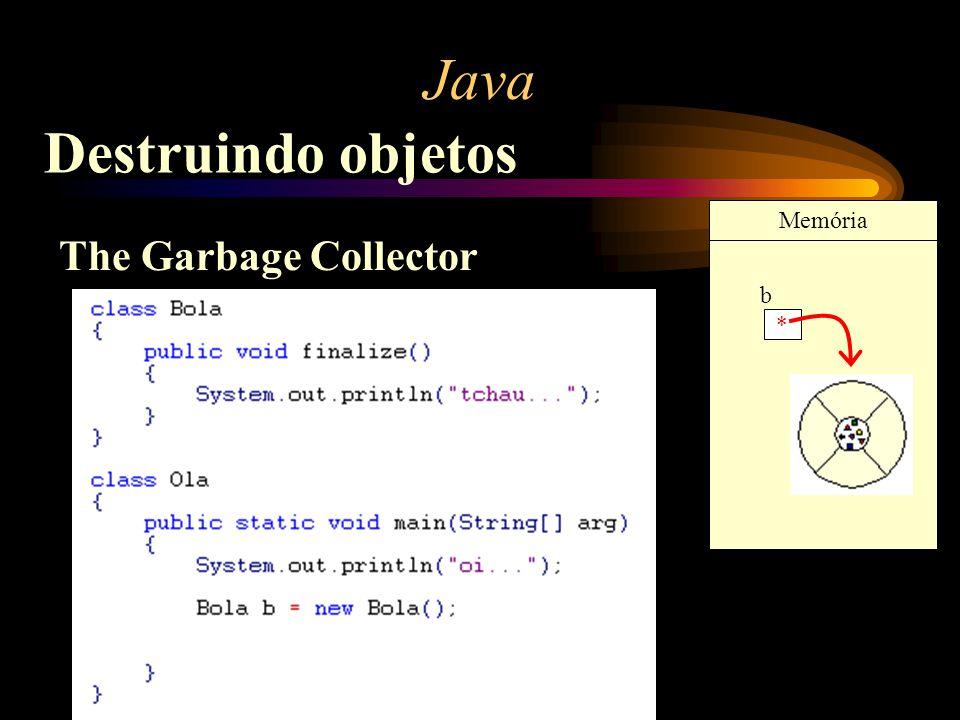 Java Destruindo objetos Memória The Garbage Collector b *