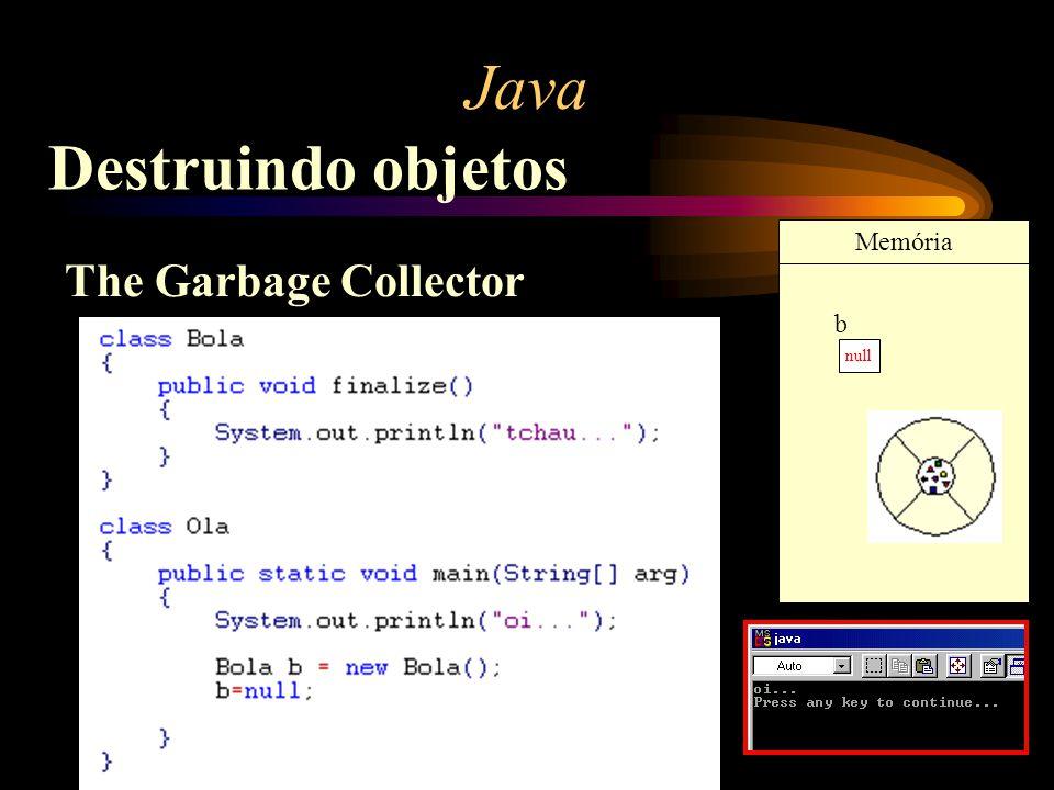 Java Destruindo objetos Memória The Garbage Collector b null