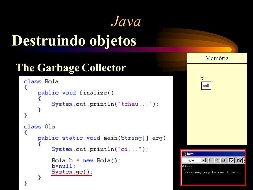 Java Destruindo objetos The Garbage Collector b Memória b Memória null