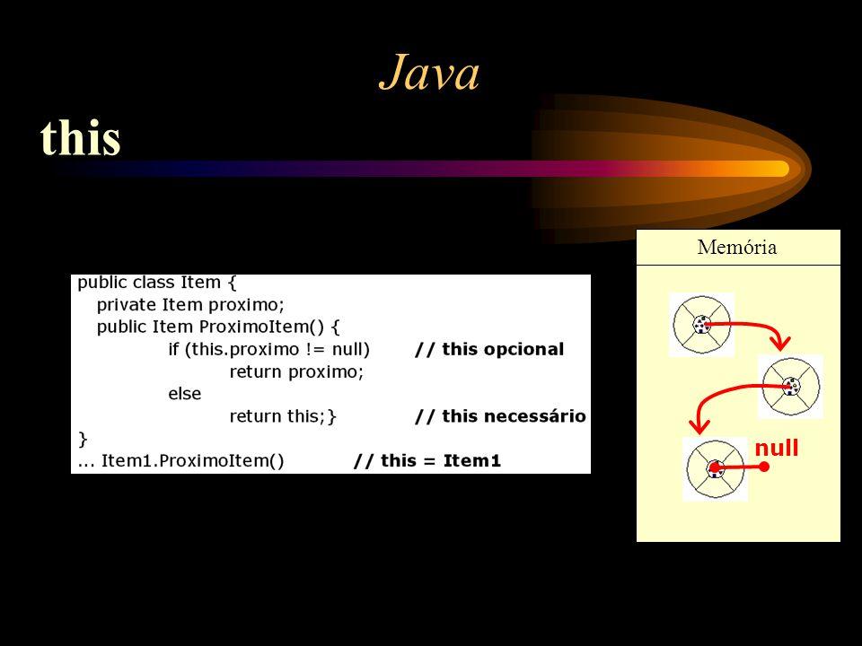 Java this Memória null