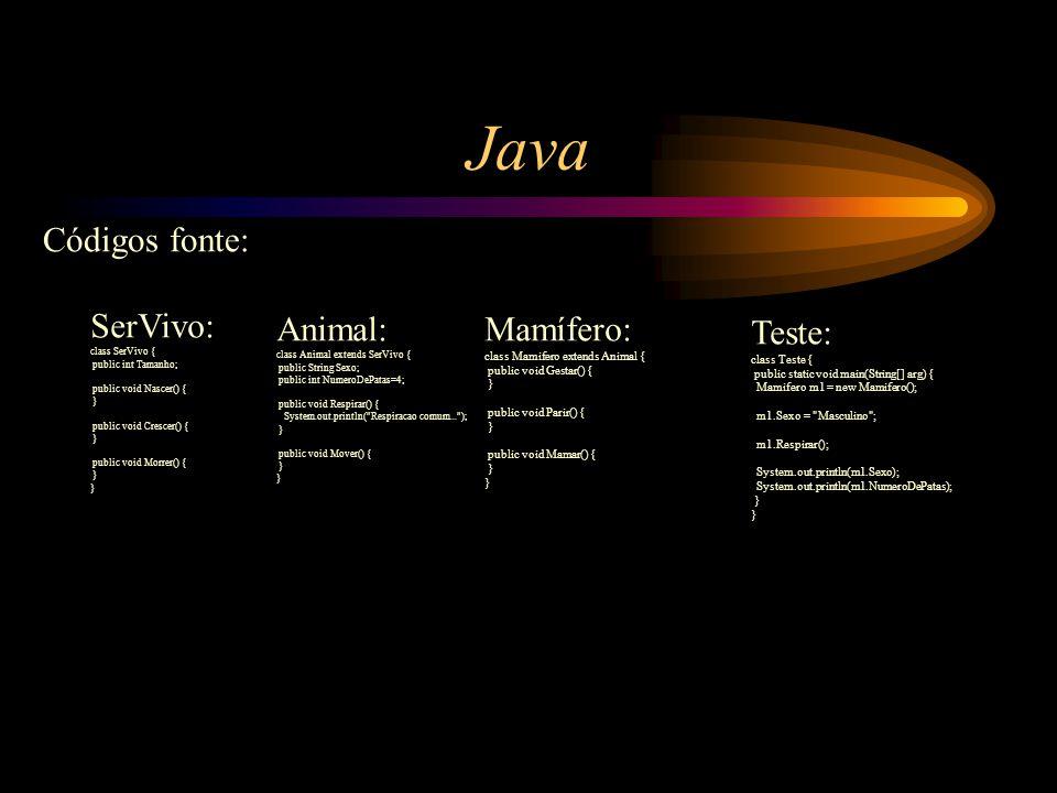 Java Códigos fonte: SerVivo: Animal: Mamífero: Teste: