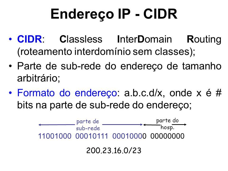 Endereço IP - CIDR CIDR: Classless InterDomain Routing (roteamento interdomínio sem classes); Parte de sub-rede do endereço de tamanho arbitrário;