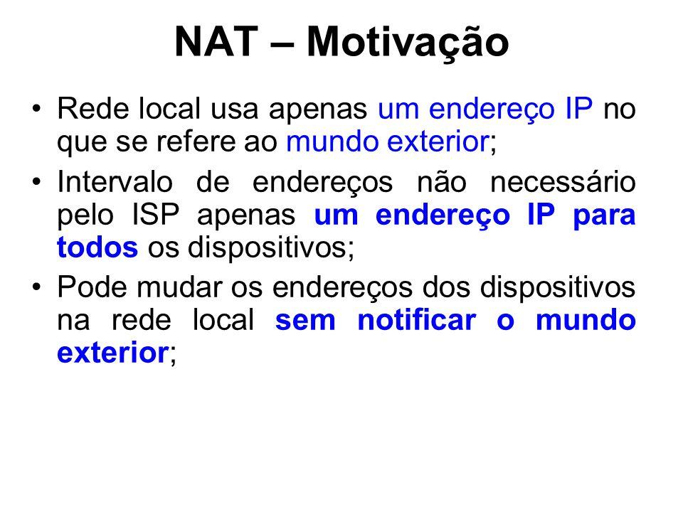 NAT – Motivação Rede local usa apenas um endereço IP no que se refere ao mundo exterior;