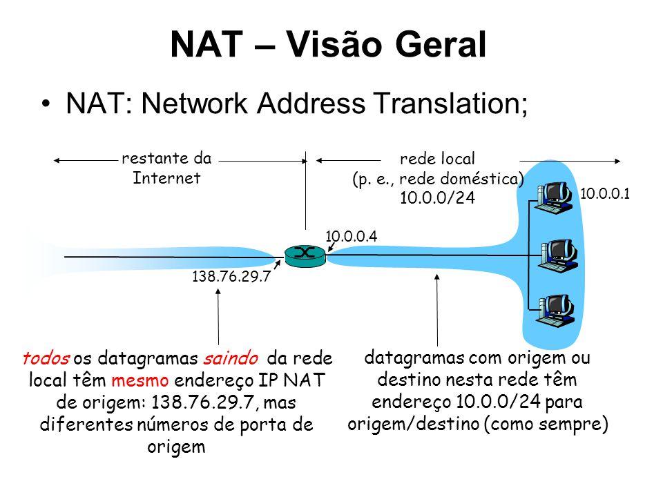 NAT – Visão Geral NAT: Network Address Translation;