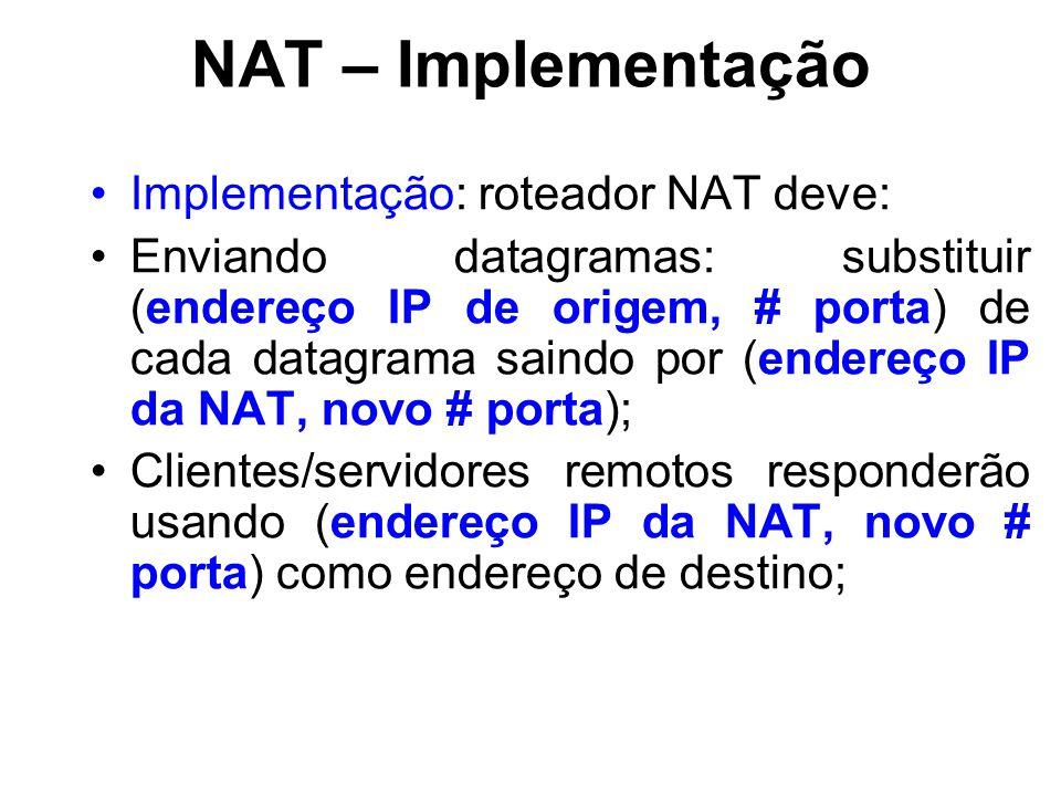NAT – Implementação Implementação: roteador NAT deve: