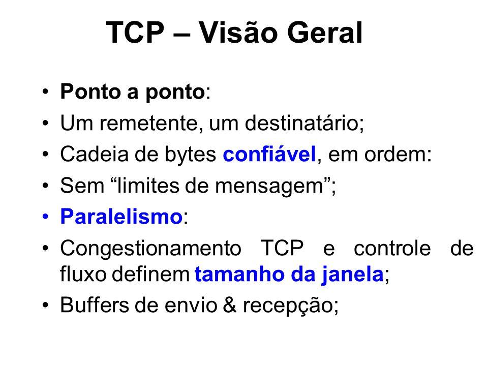 TCP – Visão Geral Ponto a ponto: Um remetente, um destinatário;