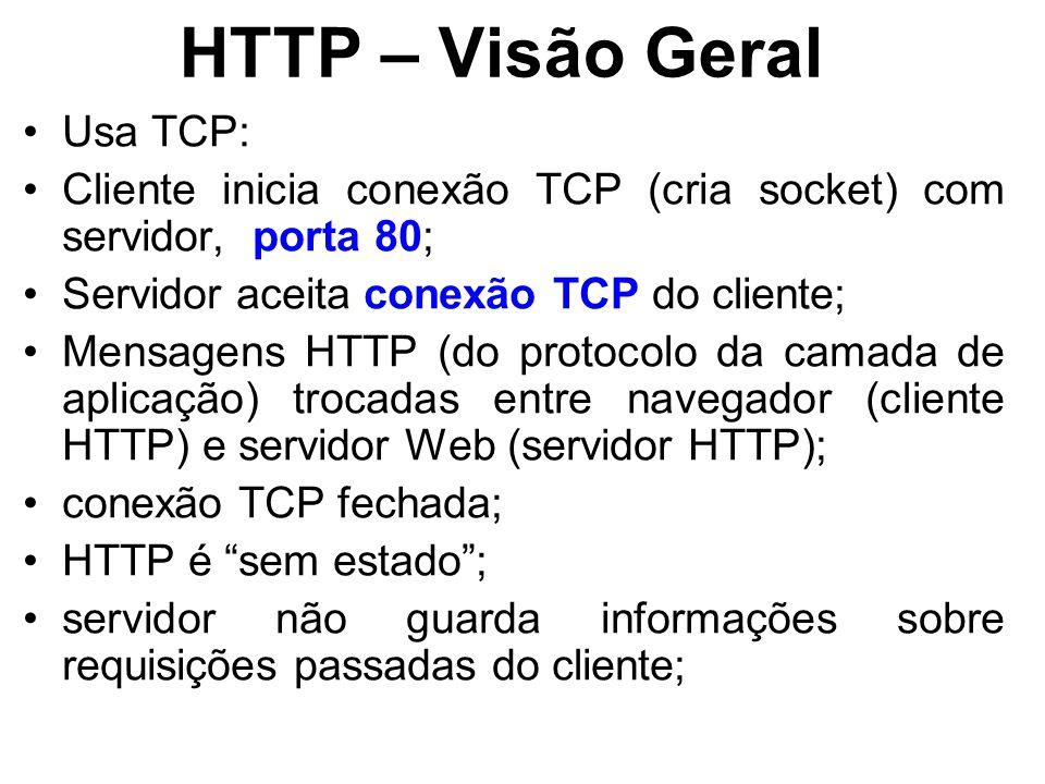 HTTP – Visão Geral Usa TCP: