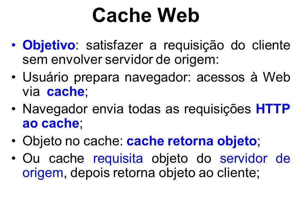 Cache Web Objetivo: satisfazer a requisição do cliente sem envolver servidor de origem: Usuário prepara navegador: acessos à Web via cache;