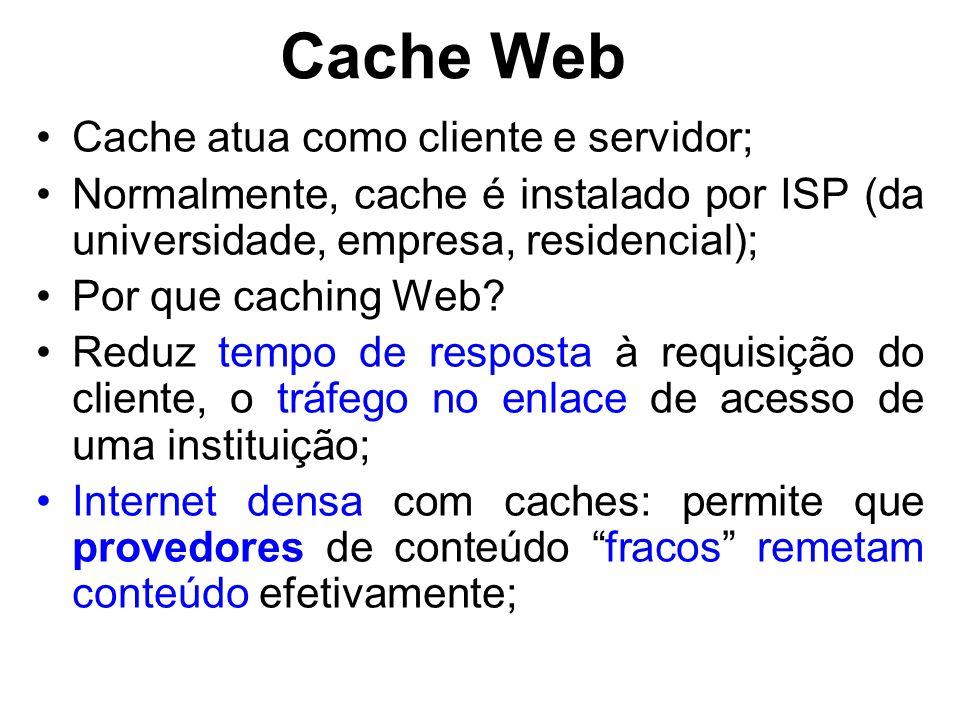 Cache Web Cache atua como cliente e servidor;
