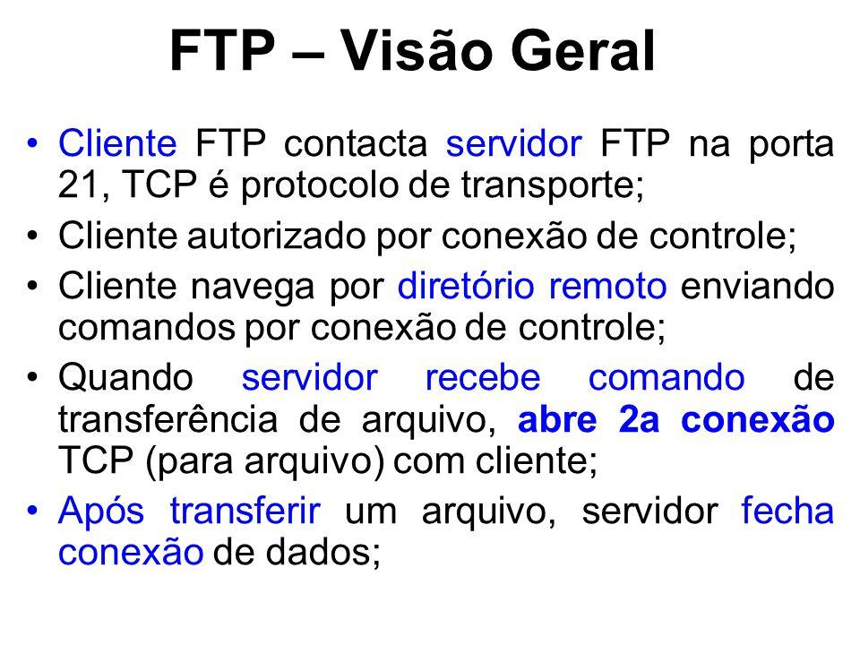 FTP – Visão Geral Cliente FTP contacta servidor FTP na porta 21, TCP é protocolo de transporte; Cliente autorizado por conexão de controle;