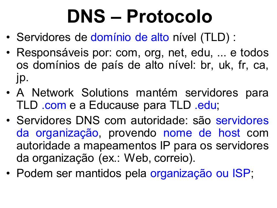 DNS – Protocolo Servidores de domínio de alto nível (TLD) :