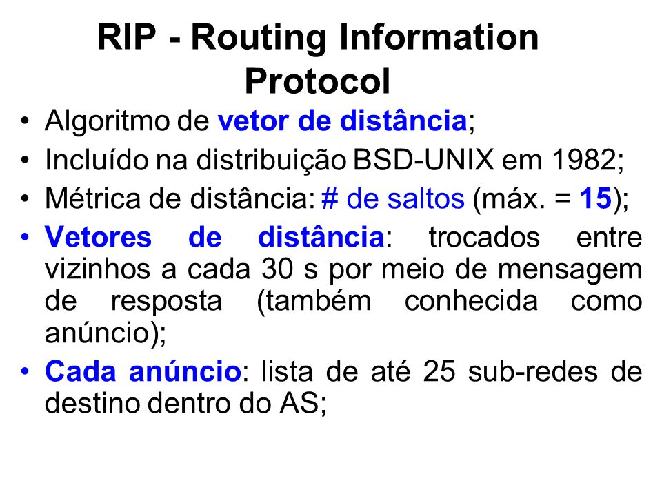 RIP - Routing Information Protocol