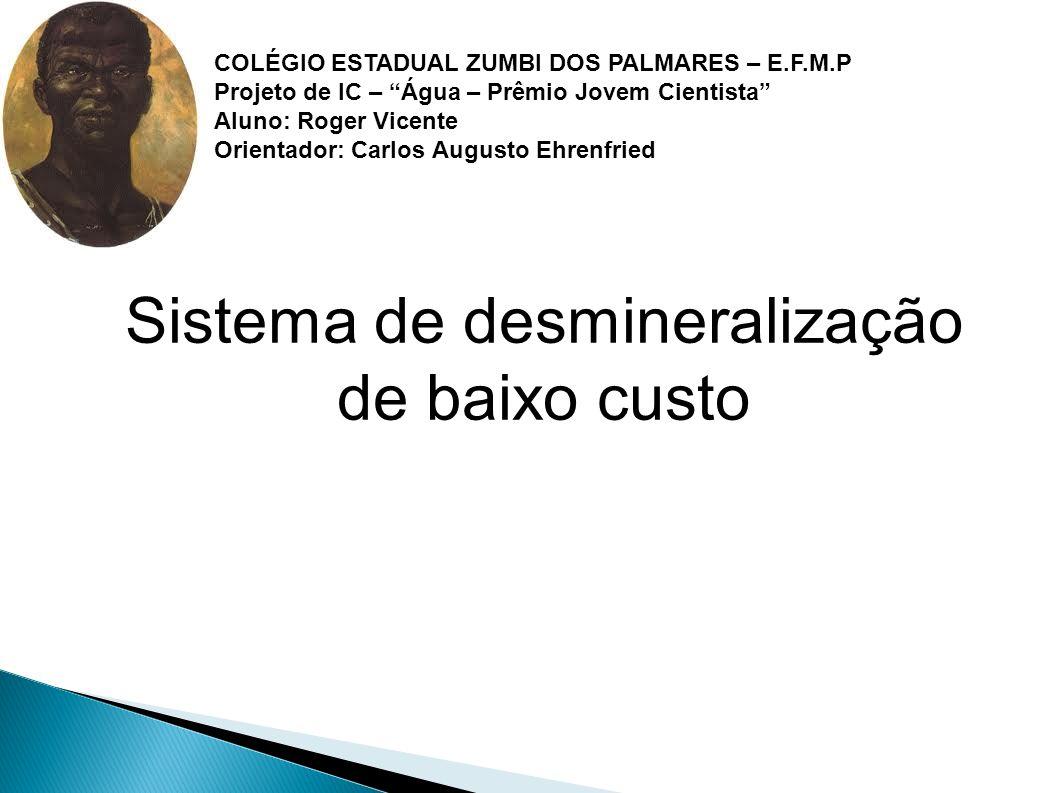 Sistema de desmineralização de baixo custo