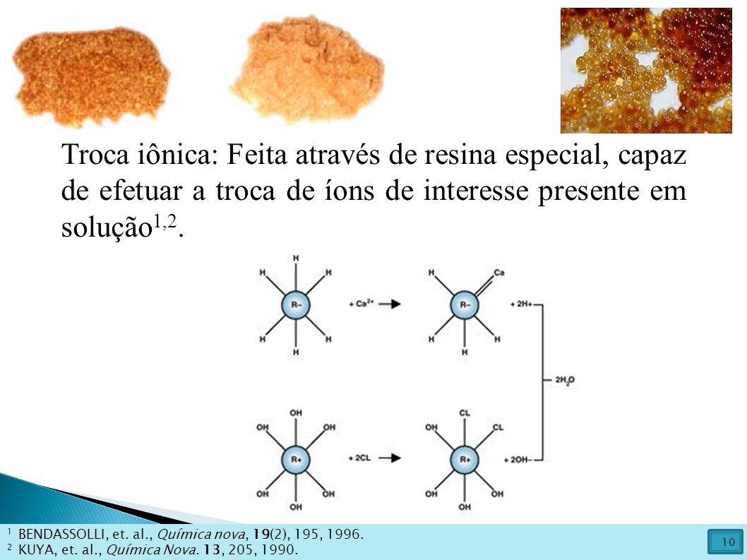 Troca iônica: Feita através de resina especial, capaz de efetuar a troca de íons de interesse presente em solução1,2.