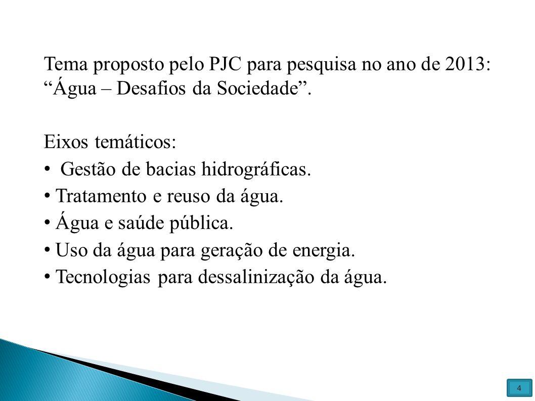 Tema proposto pelo PJC para pesquisa no ano de 2013: Água – Desafios da Sociedade .