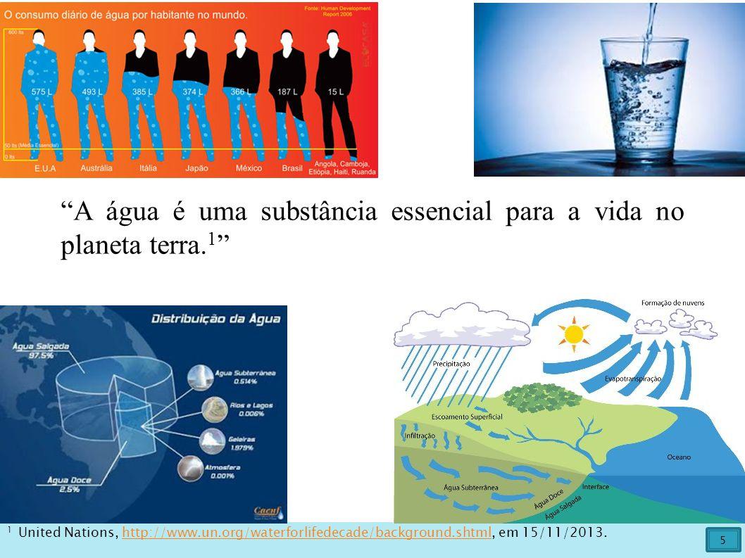 A água é uma substância essencial para a vida no planeta terra.1