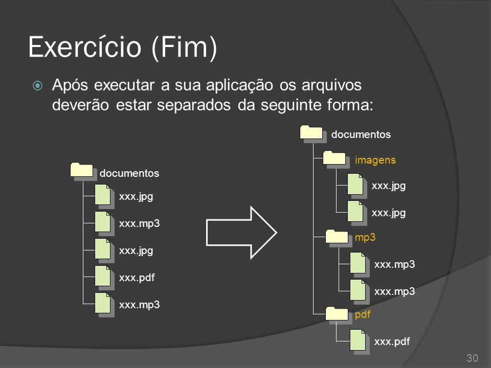 Exercício (Fim) Após executar a sua aplicação os arquivos deverão estar separados da seguinte forma: