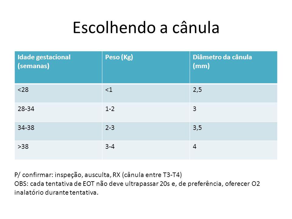 Escolhendo a cânula Idade gestacional (semanas) Peso (Kg)