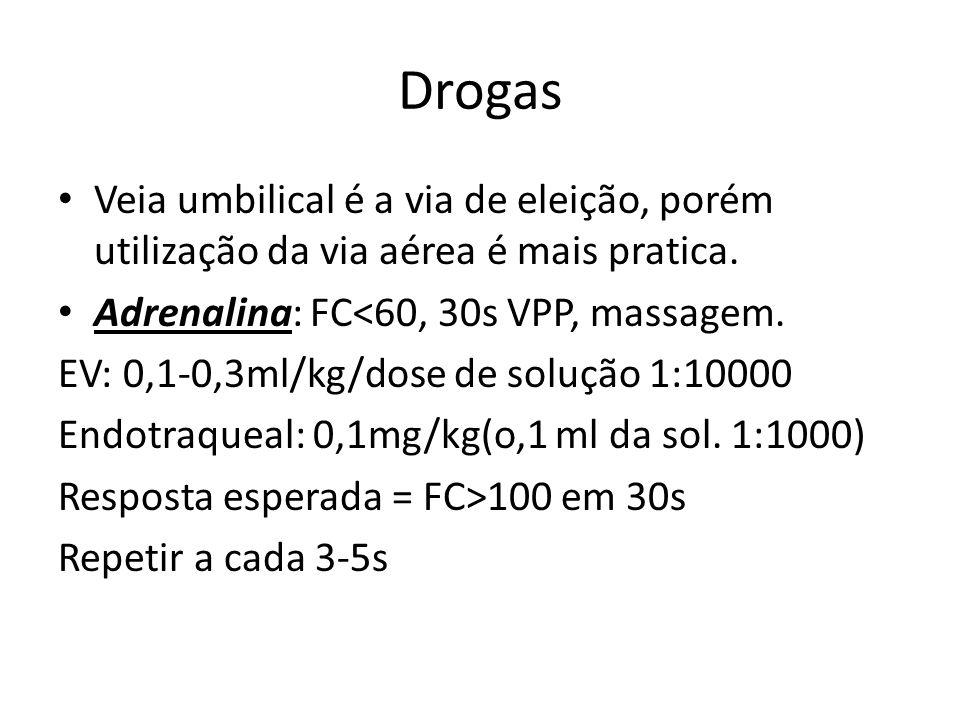 Drogas Veia umbilical é a via de eleição, porém utilização da via aérea é mais pratica. Adrenalina: FC<60, 30s VPP, massagem.