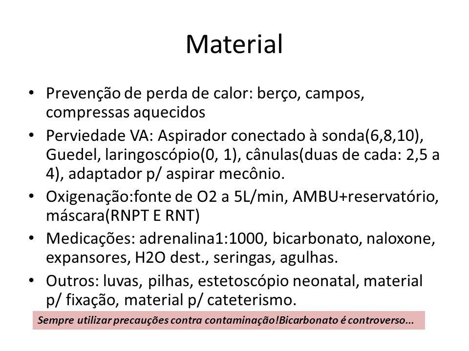 Material Prevenção de perda de calor: berço, campos, compressas aquecidos.