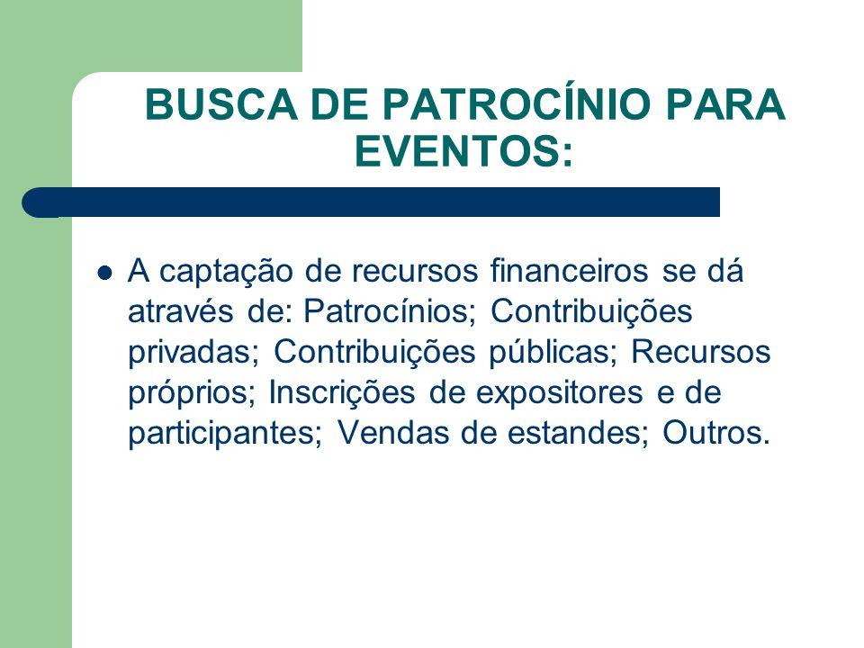 BUSCA DE PATROCÍNIO PARA EVENTOS: