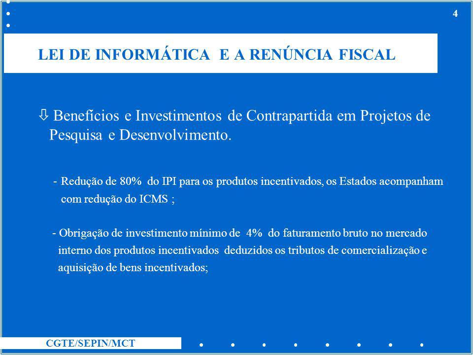 LEI DE INFORMÁTICA E A RENÚNCIA FISCAL