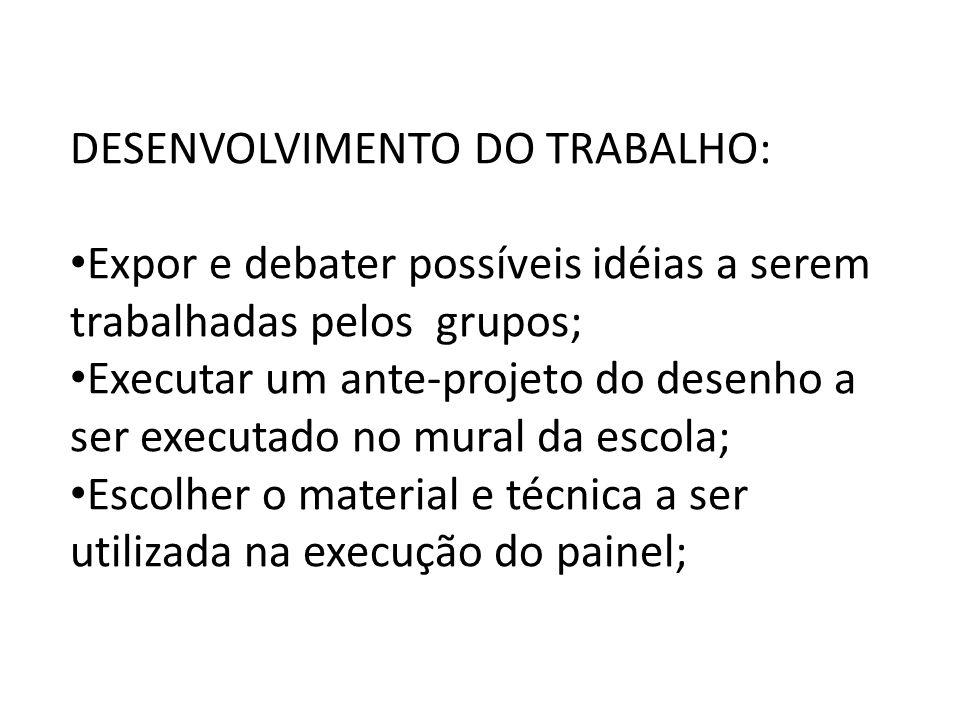 DESENVOLVIMENTO DO TRABALHO: