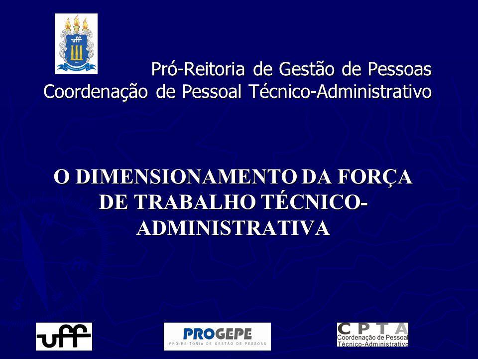 O DIMENSIONAMENTO DA FORÇA DE TRABALHO TÉCNICO-ADMINISTRATIVA