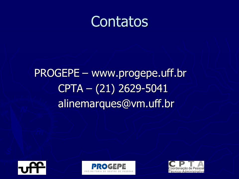 Contatos PROGEPE – www.progepe.uff.br CPTA – (21) 2629-5041