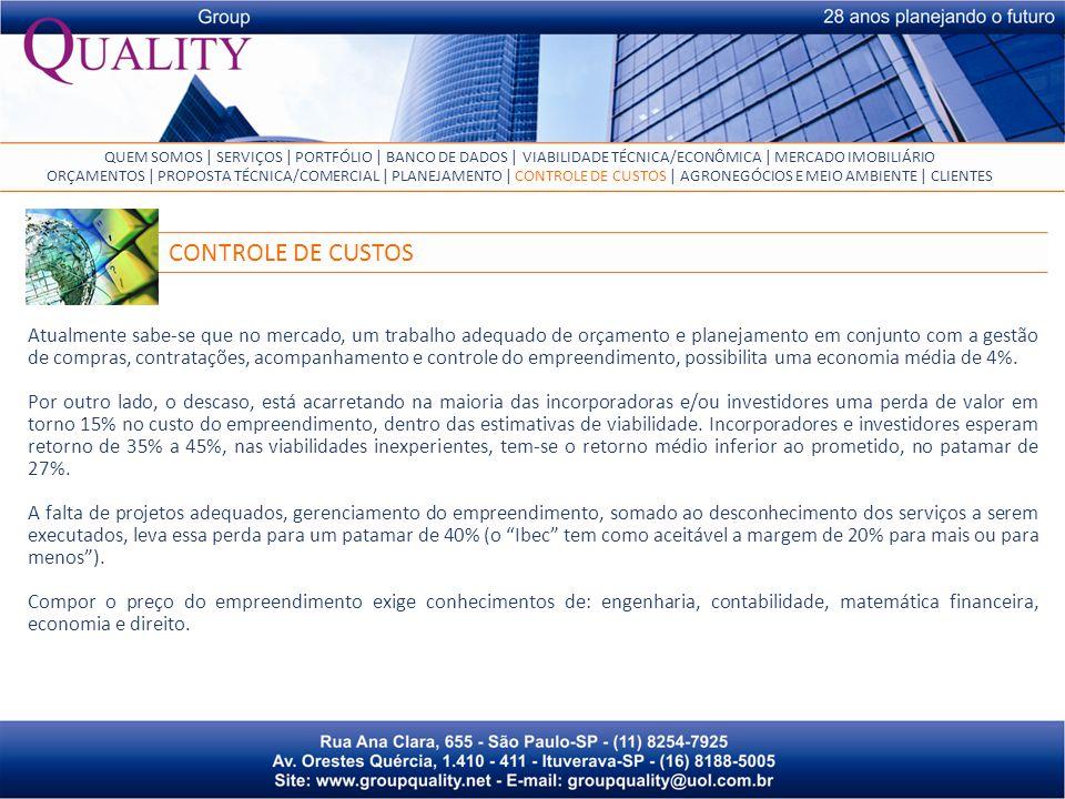 QUEM SOMOS | SERVIÇOS | PORTFÓLIO | BANCO DE DADOS | VIABILIDADE TÉCNICA/ECONÔMICA | MERCADO IMOBILIÁRIO
