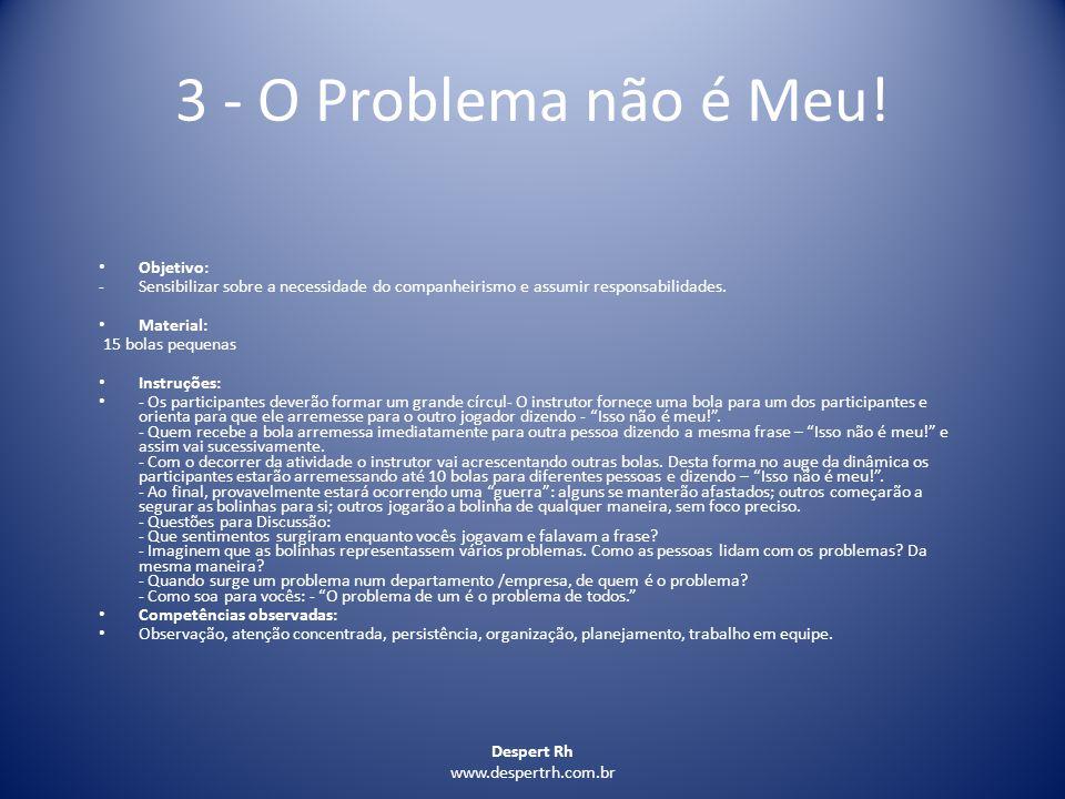 3 - O Problema não é Meu! Objetivo: