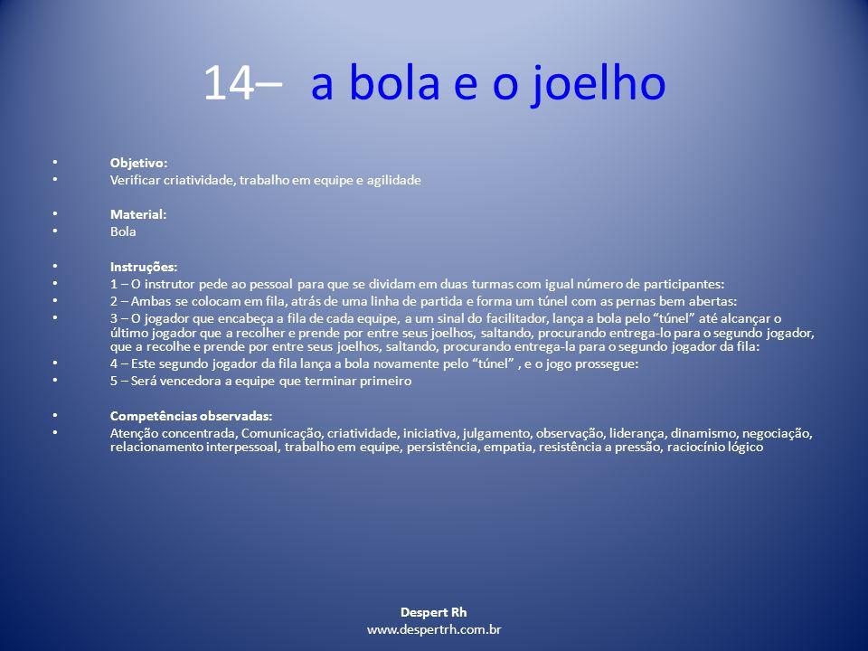 14– a bola e o joelho Objetivo: