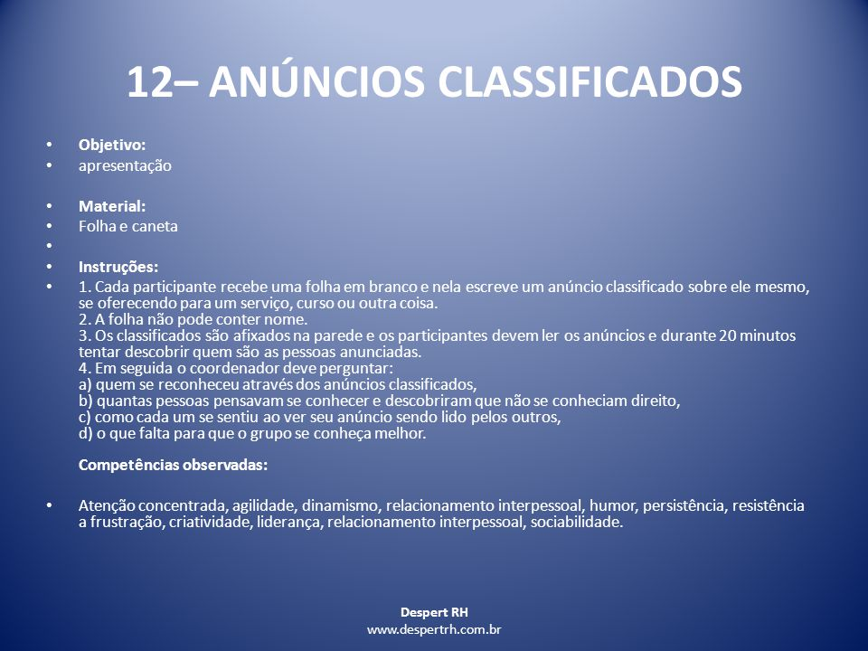12– ANÚNCIOS CLASSIFICADOS