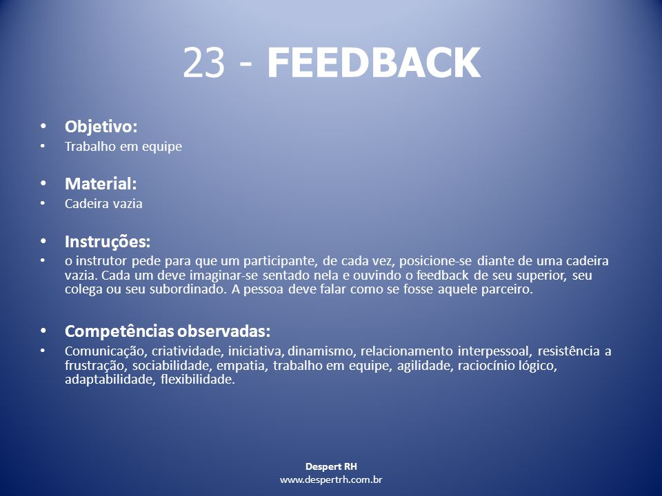23 - FEEDBACK Objetivo: Material: Instruções: Competências observadas: