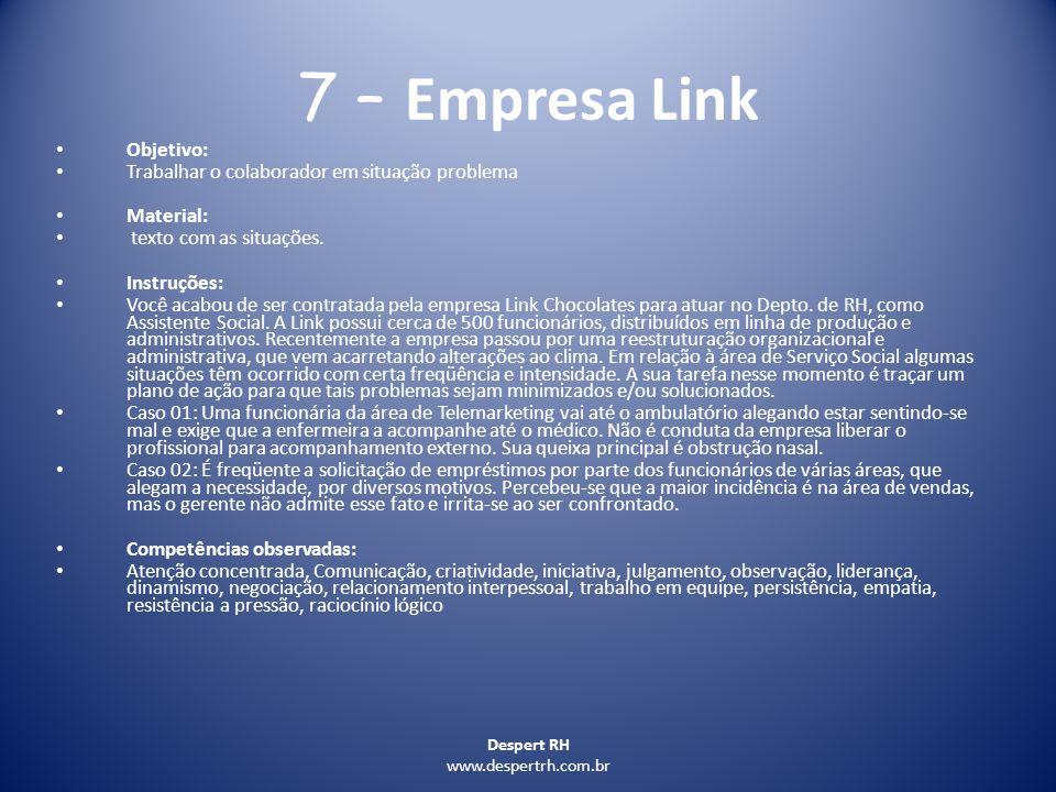 7 – Empresa Link Objetivo: