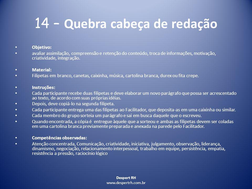 14 – Quebra cabeça de redação