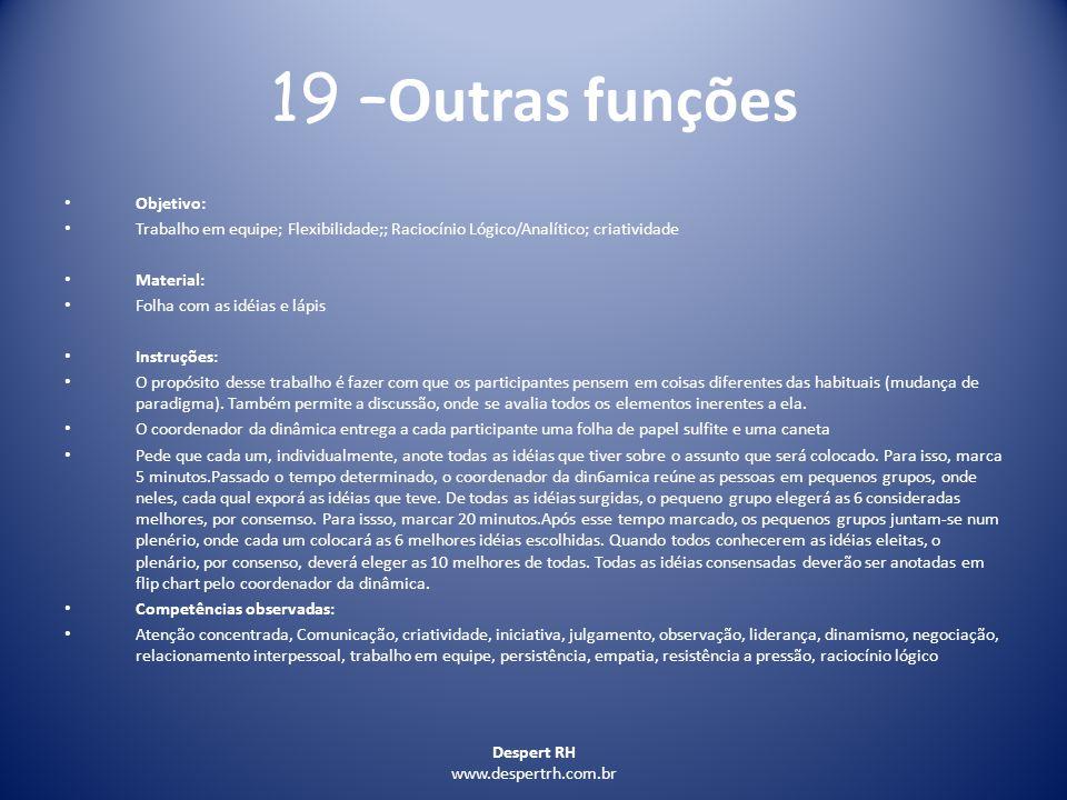 19 –Outras funções Objetivo: