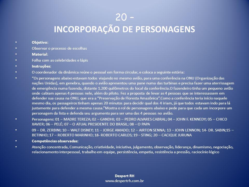 20 – INCORPORAÇÃO DE PERSONAGENS