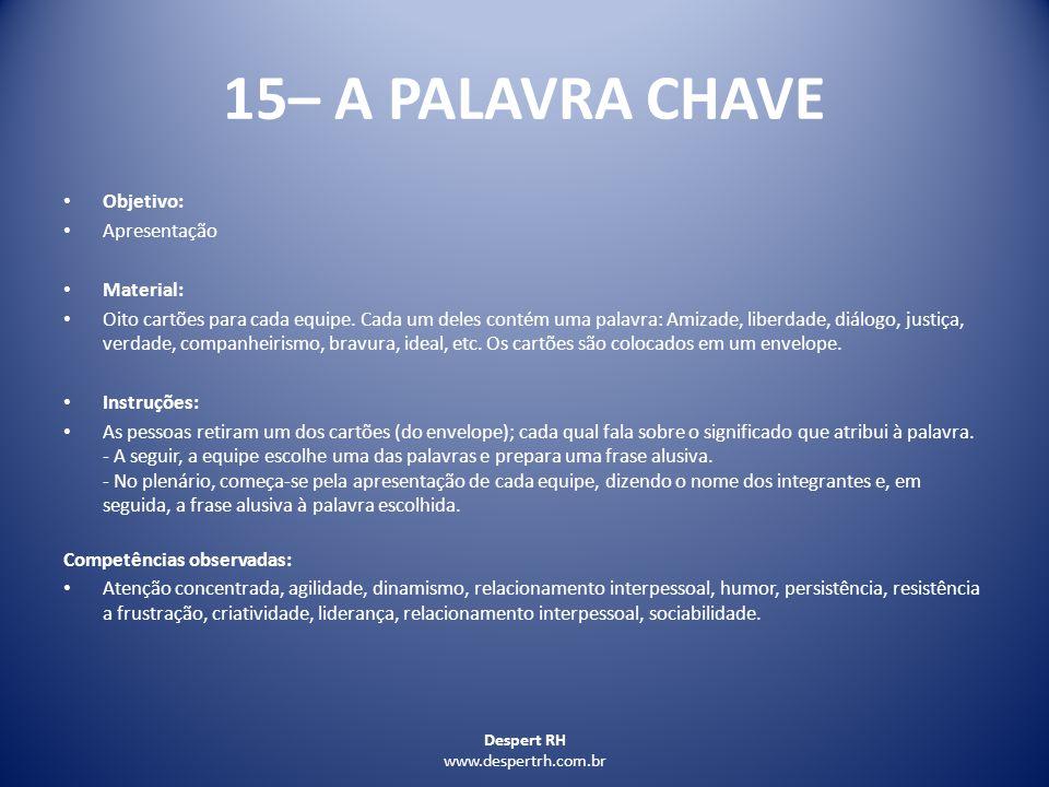 15– A PALAVRA CHAVE Objetivo: Apresentação Material: