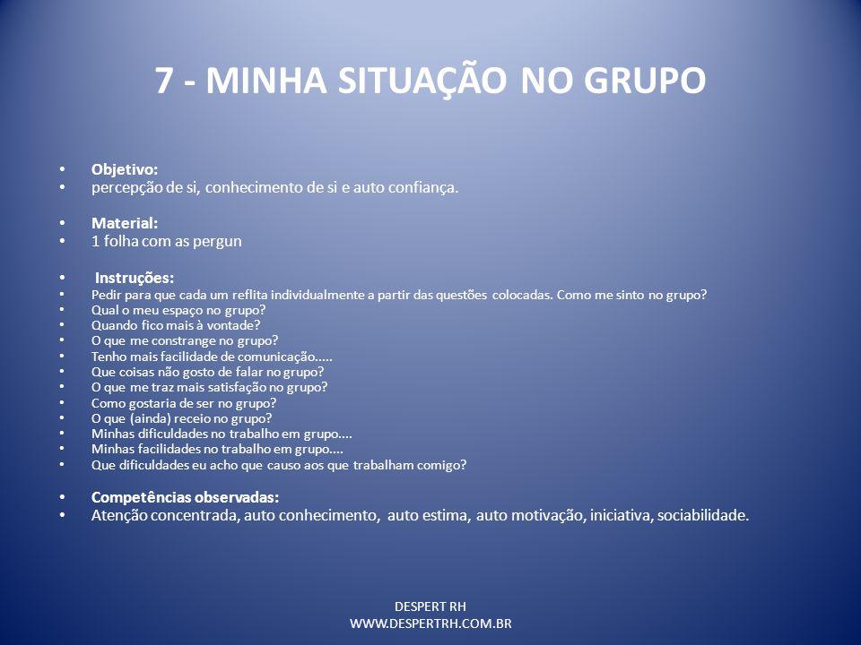 7 - MINHA SITUAÇÃO NO GRUPO