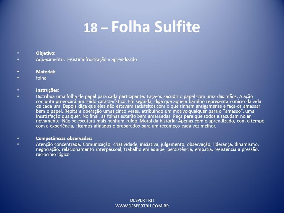 18 – Folha Sulfite Objetivo: